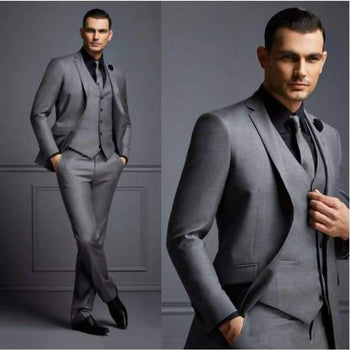 Handsome Dark Gray Mens Suit Groom Wedding Suits For Best Men Slim Fit Tuxedos Man(Jacket+Vest+Pant)