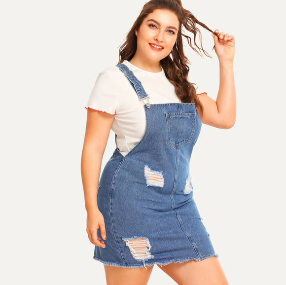 Hem Distressed Denim Overall Dress Summer Straps Sleeveless Ripped Clothing Women Plus Size Casual