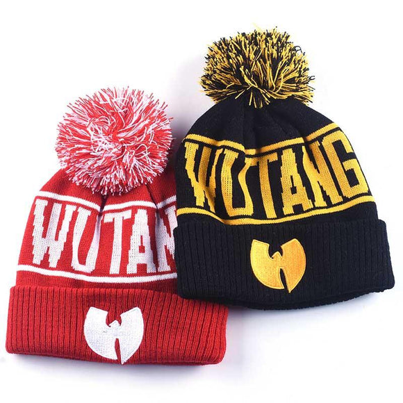 High Quality Winter Wutang Letter Clan Musice Beanie Skullies Knitted Women Wu Tang Hat Hiphop Warm Pompom Hats Caps Gold