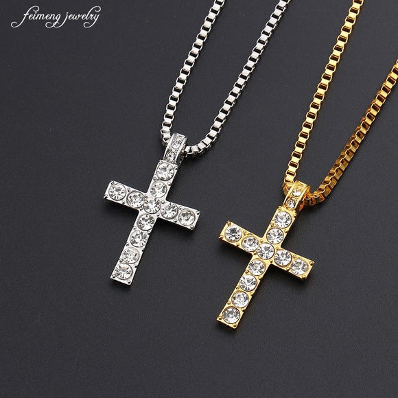 Hip Hop Alloy Gold Color Cross Pendant Necklace Religious Iced Out Crystal Crucifix Jewelry For Men Cuban Chain