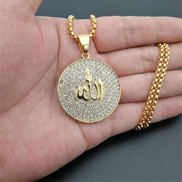 Hip Hop Iced Out Round Allah Pendant Necklace Stainless Steel Islam Muslim Arabic Gold Color Prayer Jewelry