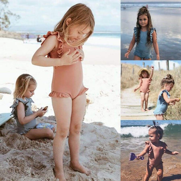 Holiday Toddler Kids Baby Girls Summer One Piece Ruffled Swimwear Swimsuit Bathing Suit Swimming Clothes