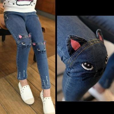 Hot Quality Girls Jeans for Spring and Autumn Children's Clothing Kids Cat Embroidered Jeans 2-8 Ages Blue girl jeans kids