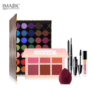 IMAGIC tool set essential cosmetics with 35 color eyeshadow matte lipstick blush mascara eyeliner with cosmetic bag