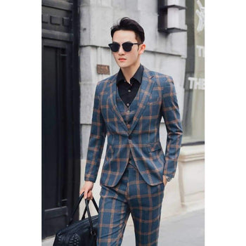 Jacket & Vest Pants Men's Boutique Plaid Formal Business Suit / Mens Casual Groom Wedding Dress