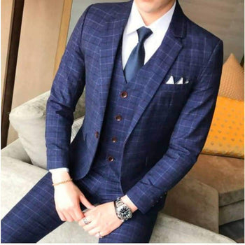 ( Jacket + Vest Pants ) Men's Boutique Plaid Wedding Dress Suit Three-Piece Male Formal Business Casual Suits