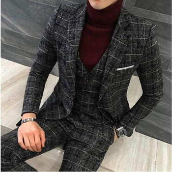 ( Jackets + Vest Pants ) Groom Wedding Dress Plaid Formal Suits Set Men Boutique Wool Casual Business Suit Three-Piece