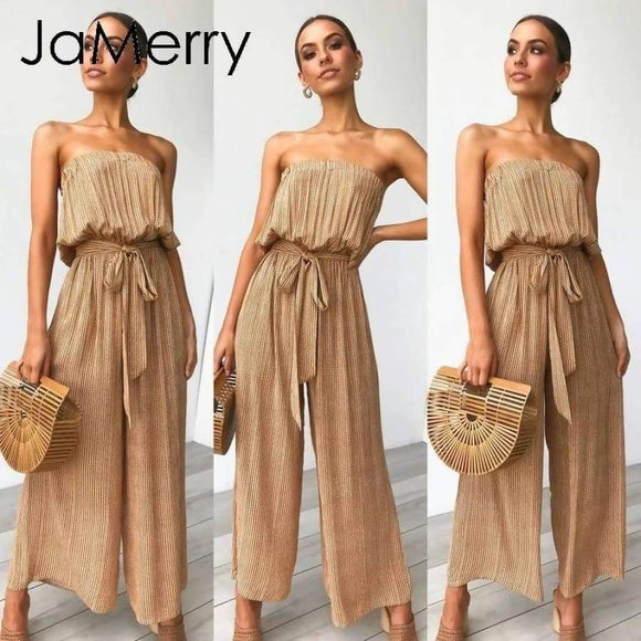 Jamberry Sexy Off Shoulder Long Jumpsuit Romper Women Sashes Playsuit Rompers
