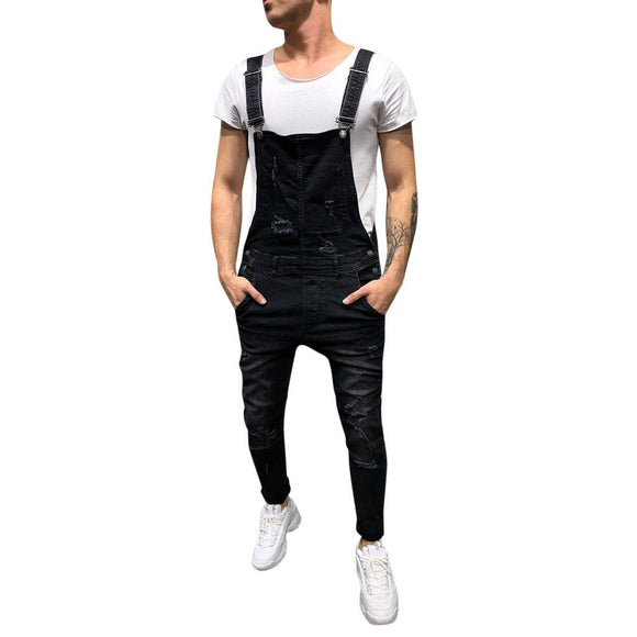 Jaycosin Men's Overall Street Casual Jumpsuit Jeans Washed Hole Pocket Modis Pants Suspenders