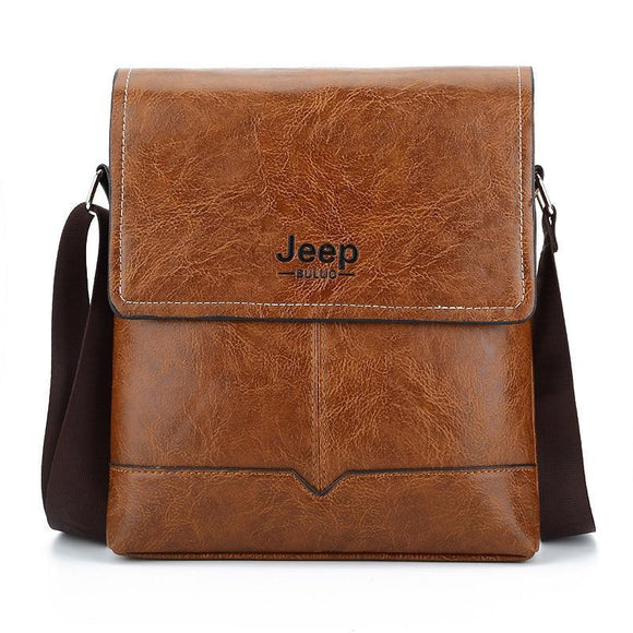 Jeep Buluo Leather Men's Messenger Bags Casual Shoulder Easy To Carry Daily Belongs Ksl 573 Black