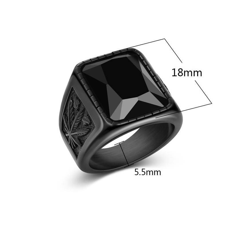 Jiayiqi Men Hiphop Ring 316L Stainless Steel Black/Red Stone Ring Rock Fashion Male Jewelry For Christmas Party Birthday Gift