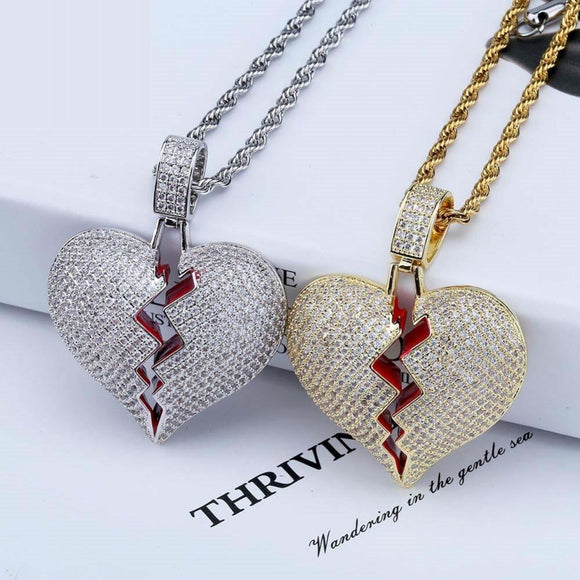 Jinao Broken Heart Iced Out Chain Pendant Necklace Statement Gold Color Cubic Zircon Hip Hop Men's Jewelry
