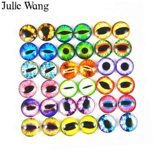 Julie Wang 50Pcs 6Mm/8Mm/10Mm Glass Round Dragon Lizard Frog Vivid Eyes Cabochons For Necklace Pendant Jewelry Making Accessory