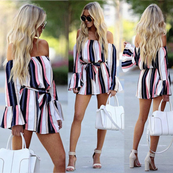 Jumpsuits For Women Summer Off Shoulder Long Flare Sleeve Striped Romper Sexy Streetwear Shorts Rompers Jumpsuit Blue L