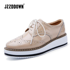 Jzzddown Genuine Leather Luxury Shoes Woman Platform Lace Up Oxford Female Loafer Pig Suede Ladies With Heels 4.5 Cm - Xodeys.com