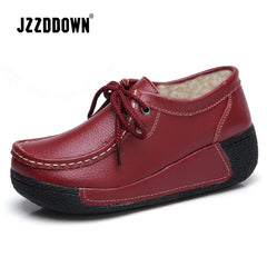 Jzzddown Women Shoes Genuine Leather With Fur Woman Platform Heel High 5Cm Sneakers Loafers Ladies - Xodeys.com