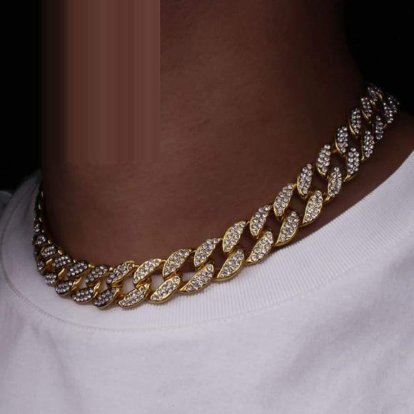 Karopel Iced Out Bling Rhinestone Golden Finish Miami Cuban Link Chain Necklace Men's Hip Hop Jewelry 16 18 20 24 Inch