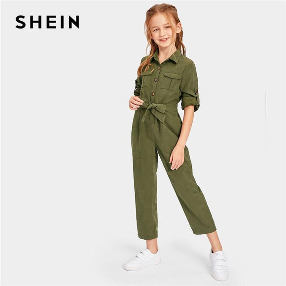 Kiddie Army Green Button And Pocket Front Belted Casual Girls Jumpsuit Summer Roll Up Sleeve Straight Leg Jumpsuits