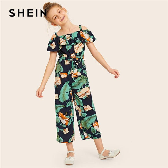 Kiddie Cold Shoulder Floral Ruffle Trim Elastic Knot Waist Boho Jumpsuit Summer Holiday Straight Leg Girls Jumpsuits