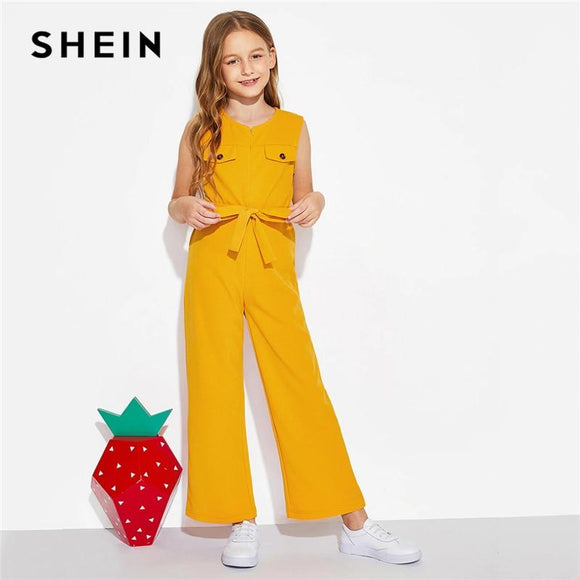 Kiddie Ginger Zipper Front Boho Girls Jumpsuit With Belt Summer Sleeveless Vacation Casual Wide Leg Kids Jumpsuits