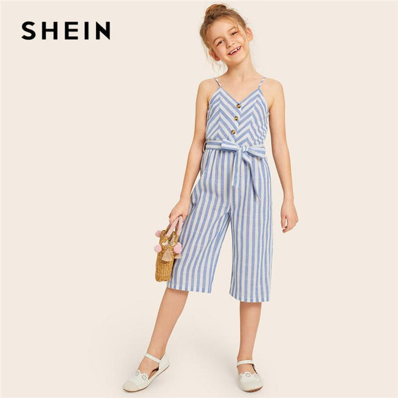 Kiddie Girls Blue Striped Button Front Boho Belted Tank Romper Summer Sleeveless Straight Leg Cute Jumpsuit For Kids