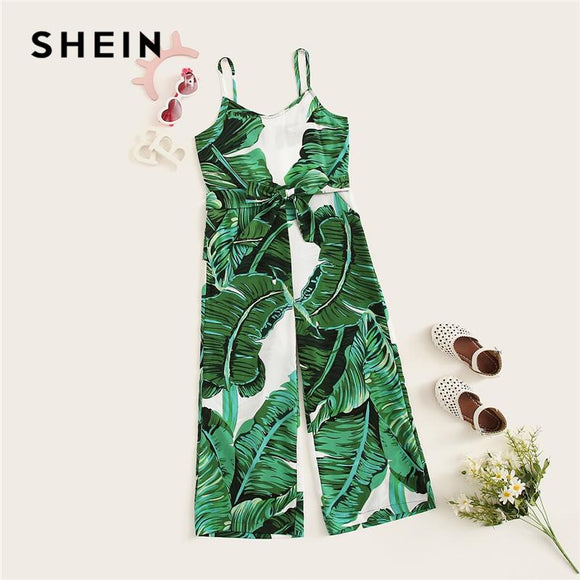 Kiddie Girls Green Tropical Print Self Belted Palazzo Cami Jumpsuit Summer Sleeveless High Waist Boho Child Jumpsuits