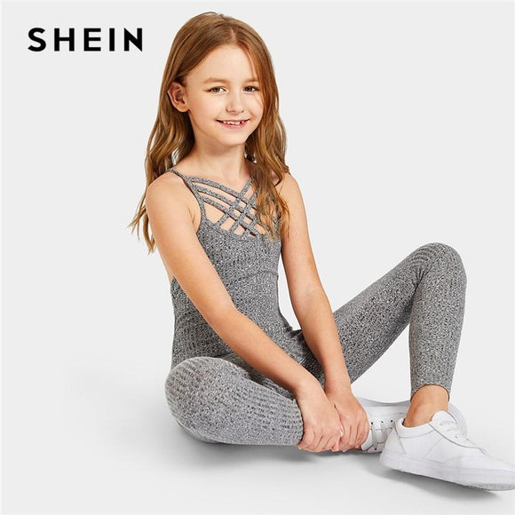 Kiddie Grey Solid Caged Neck Marled Knitted Skinny Casual Jumpsuit Girls Spring Sleeveless Criss Cross Kids Jumpsuits