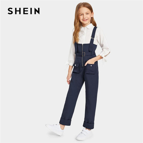 Kiddie Navy Pocket Patched Zip Up Pinafore Jumpsuit With Belt Summer Straps Preppy Straight Leg Kids Casual Jumpsuits