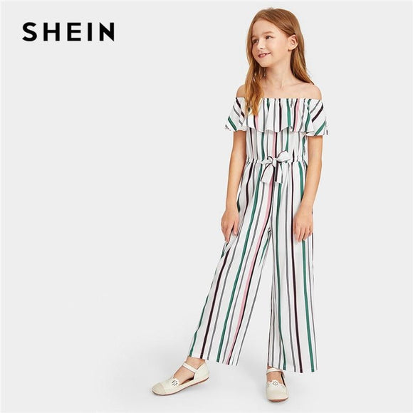 Kiddie Off The Shoulder Flounce Layered Boho Girls Jumpsuit Spring Short Sleeve Drawstring Waist Casual Kids Jumpsuit
