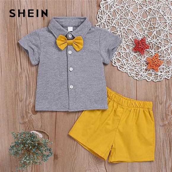 Kiddie Toddler Boys Bow Button Front Shirt With Shorts Preppy Sets Summer Short Sleeve Teenagers Casual Suit Sets