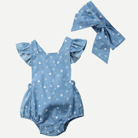 Kiddie Toddler Girls Heart Print Casual Romper With Headband Children Summer Square Neck Cap Sleeve Ruffle Jumpsuits