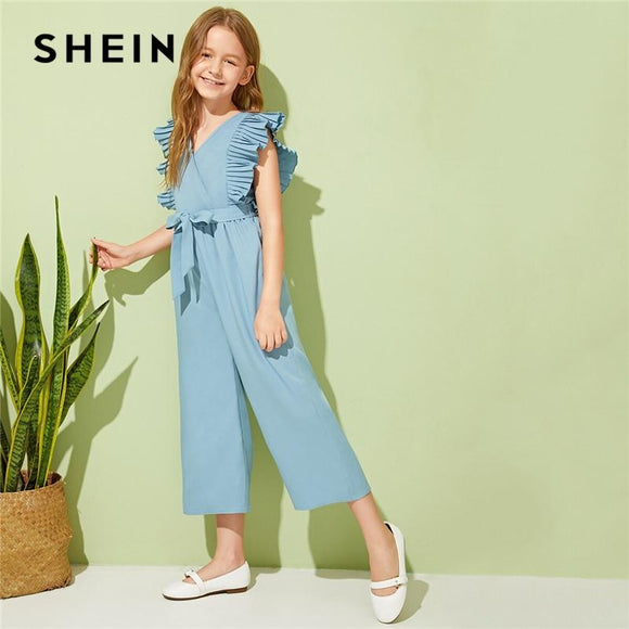 Kiddie V Neck Pleated Armhole Vacation Belted Girls Jumpsuits Summer Sleeveless Wrap Ruffle Wide Leg Jumpsuits
