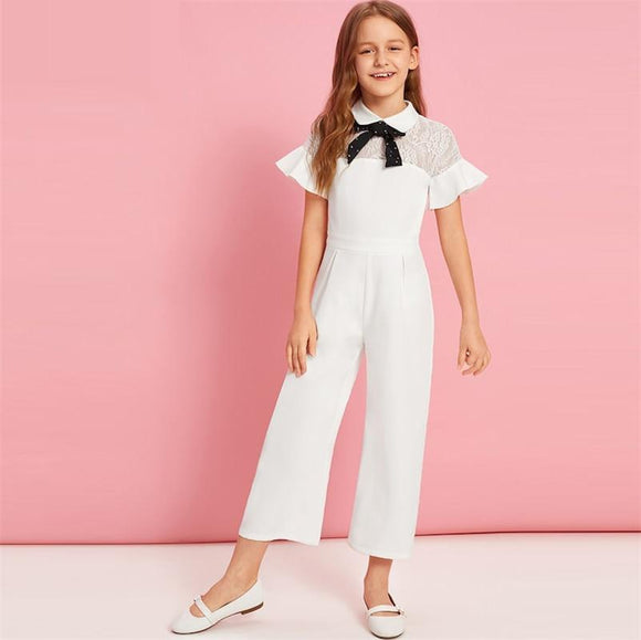Kiddie White Solid Contrast Lace Tie Neck Ruffle Party Girls Jumpsuit Summer Flounce Sleeve Wide Leg Cute Jumpsuits