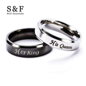 King Queen Ring Stainless Steel Rings For Women Men Jewelry Anel Couple Aneis Wedding Bague