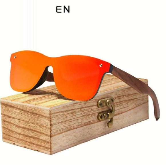 King Seven Mens Sunglasses Polarized Walnut Wood Mirror Lens Sun Glasses Women Design Colorful Shades Handmade