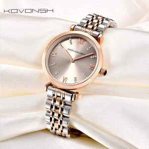 Kovash Luxury Women Watches Lady Watch Stainless Steel Dress Quartz Wrist Present Gold Gray White