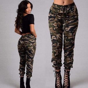 Ladies Women's Camo Cargo Trousers Casual High Waist Pants Military Army Combat Camouflage Pencil