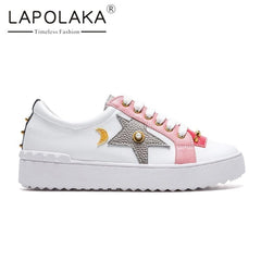 Lapolaka Ins Style Genuine Leather Cow Women Shoes Leisure Woman White Casual Sneakers Loafers Flats - Xodeys.com