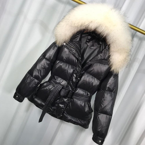 Large Real Raccoon Fur Winter Jacket Women Medium-Long Down Parka Warm Female Duck Hooded Coat Green black M