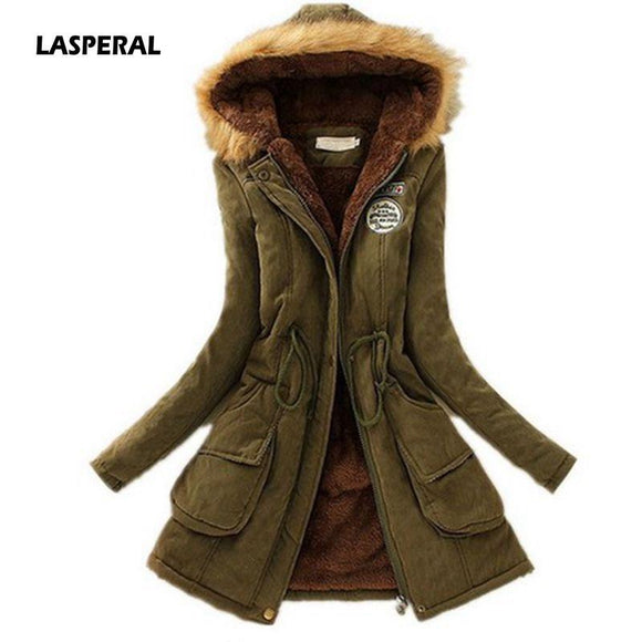 LASPERAL 2019 New Parkas Female Women Winter Coat Thickening Cotton Winter Jacket Fashion Womens Outwear Parkas for Women Winter