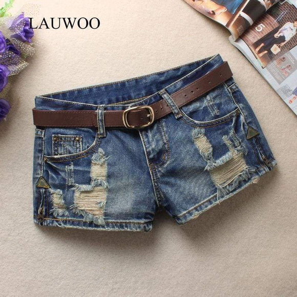 Lauwoo Summer Women's Trendy Hole Denim Shorts Beggars Jean Low Waist Without Belt