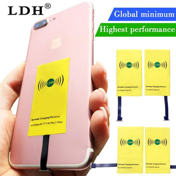 Ldh Qi Wireless Charger Receiver For Iphone 7 6 6S 5 Plus Charging Micro Type C Adapter Samsung Xiaomi Android Phone