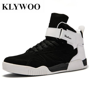 Leather Klywoo Big Size 39-46 Shoes Men Sneakers Justin Bieber Boots Superstar Hip Hop High Top Casual Black White