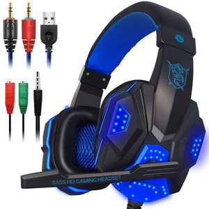 Leather Stereo Gaming Headset For Xbox One Ps4 Pc Surround Sound Over-Ear Headphones With Mic Noise Cancelling Led Lights White Blue
