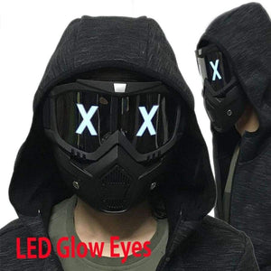 Led Lights Mask Luminous Half Face X Glowing Eyes Diy Eyewear Removable Masks Dj Party Halloween Cosplay Prop