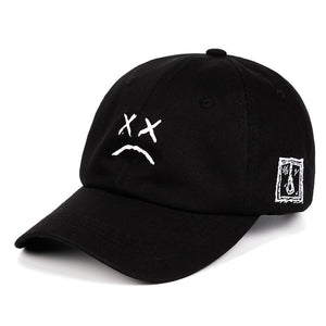 Lil Peep Sad Face Dad Hat Embroidery 100% Cotton Baseball Cap Xxxtentacion Hip Hop Golf Love Lil.Peep Snapback Women Men
