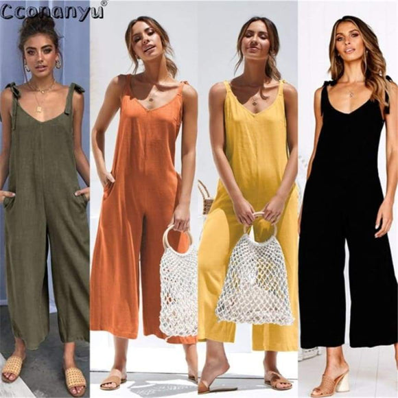 Loose Sleeveless Jumpsuit For Women Summer Sexy Shoulder Casual Jumpsuits Wide Leg Rompers High Waist Pocket