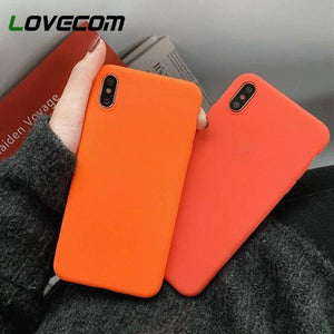 Lovecom Vibrant Orange Candy Soft Phone Case For Iphone Xs Max Xr 6 6S 7 8 Plus X Solid Frosted Tpu Back Cover Cases Coque