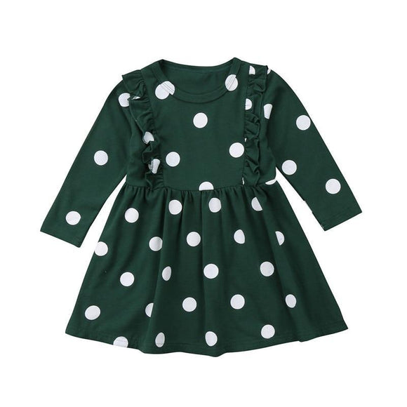 Lovely Newborn Baby Girl Dress Ruffles Long Sleeve Polka Dot Dresses Spring Autumn Party Pageant Tutu Cotton Polyester As Photo Show 24M
