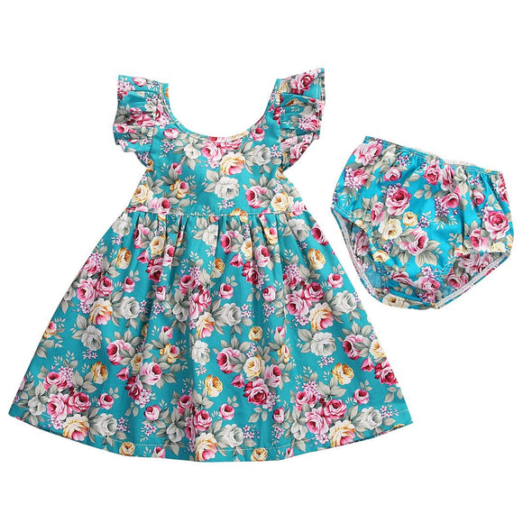 Lovely Summer Infant Baby Girl Ruffle Floral Dress Sundress Briefs Outfits Clothes Set